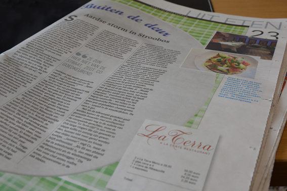 Krantartikel Restaurant La Terra en Leeuwarder Courant