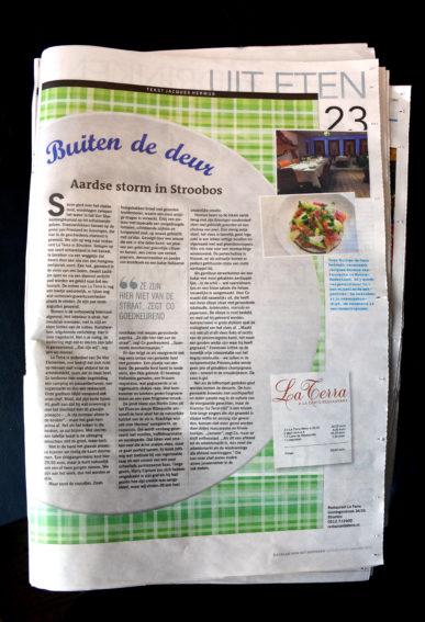 Restaurant La Terra in het Dagblad van het Noorden de Leeuwarder Courant